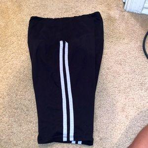 High waisted striped biker shorts